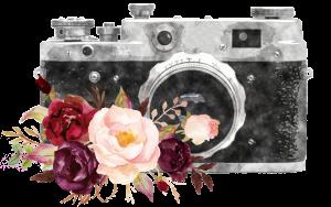 Watercolor Bild von Vintage-Kamera mit Blumen